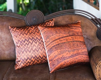 Pure silk pillow cover 18x18, Decorative pillows set of 2, Orange silk pillowcase, Zigzag ethnic art print pillow cover, Pure silk fabric