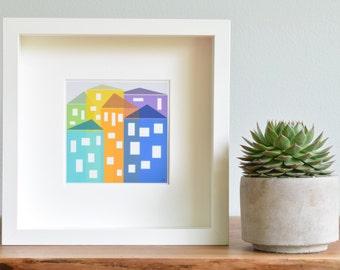 Modern Art Print, Wall Art, Limited Edition Print, Children's Decor, [Cityscape.Bright Pastels] UNFRAMED Print