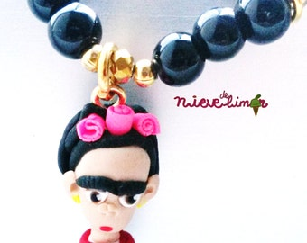 Frida Kahlo bracelet, mexican artist. Cute, unique, clay charm jewelry.