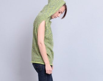 Hooded sweater vest Wool vest Crewneck sleeveless sweater Green sleeveless Hoodie top Knit vest Lime sweater top Girlfriend gift