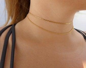 Dainty Gold Chain Choker Necklace  | Chain Choker | Gold Choker | Dainty Choker | Thin Choker | Delicate Choker | Adjustable Gold Choker