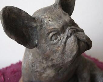 french bulldog brass sculpture