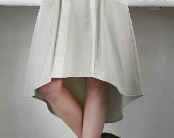 Handmade asymmetric midi skirt with pockets and jacquard tape (wool and cashmere)