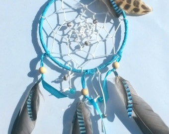 Dream catcher blue natural feathers - dreamcatcher - home decoration - ethnic - baptism gift, housewarming, wedding