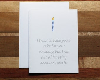 Witty Birthday card, Funny Birthday card, Birthday card, Funny card, Witty card, Birthday cake card, Foodie Birthday card, Candle and cake
