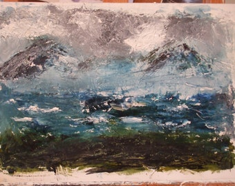 "Original Oil painting, Mist on the Mountains, Oil on Mountboard, atmospheric art, Mountains 10"" x 14"" (25cm x 36cm"