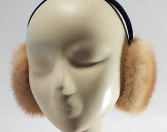 Recycled mink fur earmuffs / Recycled mink fur earmuff