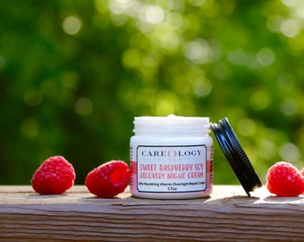 """Hydrating Face Cream for Sensitive Skin - """"Sweet Raspberry Soy Recovery Night Cream"""""""