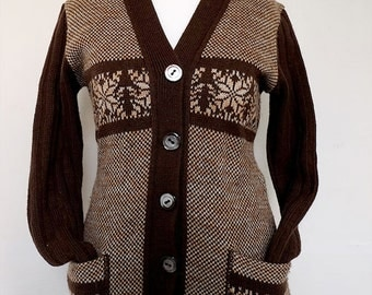 50s / 60s vintage CARDIGAN | NORWEGIAN | Monroe | Cardigan Brown