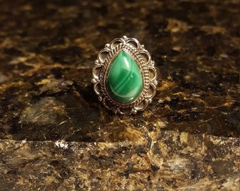 SALE Malachite Sterling Silver Ring