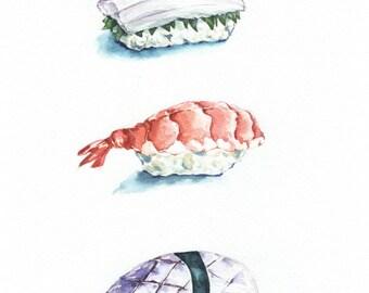"""Watercolor Print  """"Sushi""""No 2. Kitchen Wall Decor, Art Print, Japan, food"""