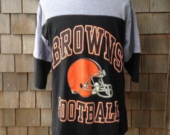 Vintage 90s CLEVELAND BROWNS Raglan T Shirt - Large