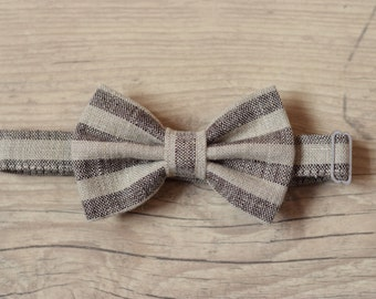 Baby Bow tie Natural linen brown striped bow tie 1st Birthday bow tie Wedding bow tie Ring bearer bow tie Baptism bow tie Page boy bowtie