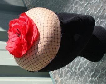 ladies camel felt pillbox hat with red poppy,