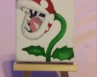 Miniature Piranha Plant canvas painting on easel