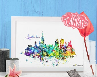 Amsterdam Skyline Canvas Print, Amsterdam Netherlands Map Underground, Amsterdam Art Print Wall Art Amsterdam Poster Canvas Print Watercolor