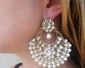 Elegant Golden & White kundan earrings with pearl Bollywood style wedding