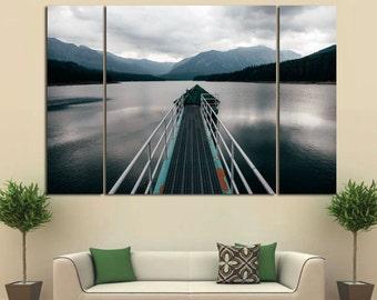 Large Wall Mountain&Lake Canvas Color Bridge Multipanel Canvas Landscape  Art Large Lake 1-3-4 Panel Cloud  Lake and Bridge
