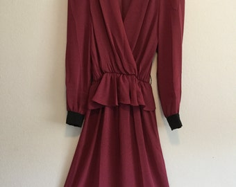 Vintage ruffle waist 70's dress xs small maroon