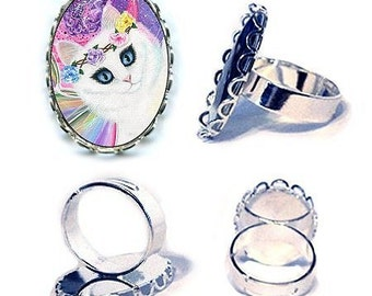 White Fairy Cat Ring Springtime Magic Rainbow Tarot 4 of Wands Fantasy Cat Art Cameo Ring 25x18mm Gift for Cat Lovers Jewelry