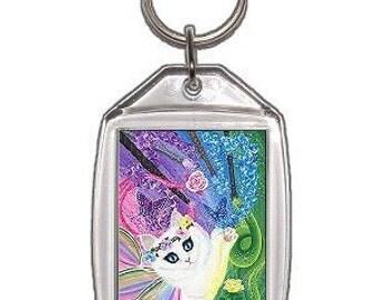 White Fairy Cat Keychain Springtime Magic Rainbow Tarot 4 of Wands Fantasy Cat Art Keychain Keyring Cat Lovers Gift