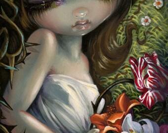 Sleeping in Thorns art print by Jasmine Becket-Griffith BIG 8x16 sleeping beauty princess rose flowers thorn skull skeleton fairytale
