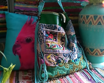 Large Shoulder Bag, Original Painting, Old Embroidery, Brocade, Green, Turquoise, Vinyl, Suede, Tassels, Vintage Buttons, Boho