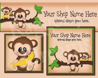 Premade Etsy Cover Photo  - Large Etsy Banner - Etsy Shop Banner - SHOP ICON - Cute Hanging Monkey Banana Palm Tree