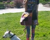 Hippie Patchwork Sling Festival all Corduroy Lined Messenger Bag ~Flower Print~