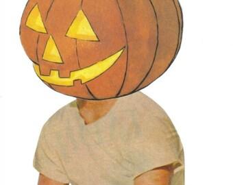 Original Art, Halloween Art, Jack o Lantern, Funny Cute Artwork, Halloween Wall Art, Pumpkin Art, Paper Collage, Humor Art