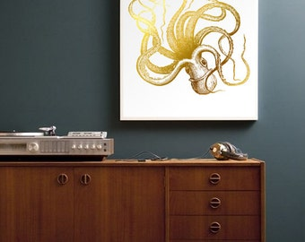 Gold Octopus Print - in REAL GOLD FOIL - Gold Wall Print, Gold Nautical Decor, Marine Ocean Decor, Vintage Illustration, Marine Art