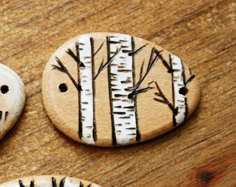 Wood burned bracelet connector Birch Trees