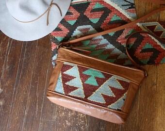 Tribal Shoulder Bag. Brown Leather Bag. Kilim Bag.