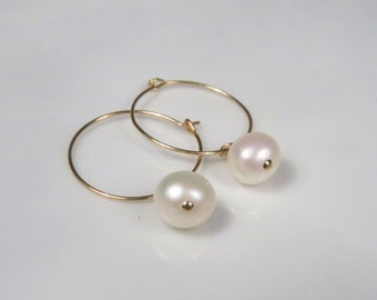 Gold pearl earrings, Pearl hoop earrings, Simple pearl earrings, freshwater pearl earrings