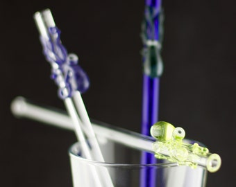 Cyclops Octopus Glass Straw You Choose the Color, Made to Order