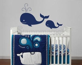 Whales Wall Decal Vinyl Sticker for Baby Nursery - sea ocean fish - K324