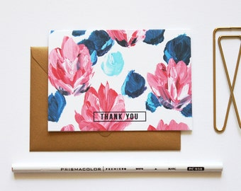 THANK YOU Notes Floral Pink and Blue / Set (10) / Shimmery Antique Gold Envelopes / Stationery