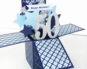 Pop Up Birthday Card - 50th Birthday Card - 3D Blue and Silver Star Explosion Card - Choose any Age - 40, 60, 70, 80 - Card in a Box