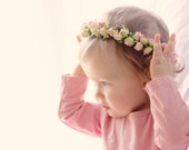 Baby flower crown, Pink flower girl crown, Pink rose floral wreath, Baby flower crown, Photography prop, woodland floral wreath (6+ months)