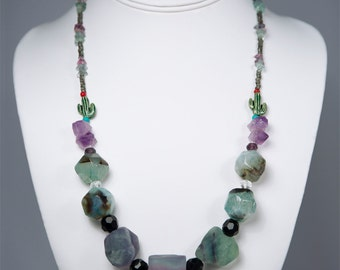The Oasis, Fluorite Gemstone Necklace by La Miré New York