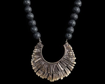 Feather Necklace with Lava Beads