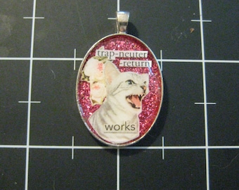 Trap-Neuter-Return Works, Silver Tabby Rose Pendant, 50% goes to the charity of the month