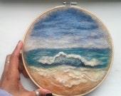 "Embroidery Hoop Art Beach Wave Sea Ocean on Brown Burlap Needle Felting Landscape 8"" READY to SHIP"