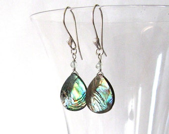 Iridescent Earrings, Abalone Shell Teardrops with Green Amethyst Prasiolite Gemstones, Artisan Hooks, Sterling Silver