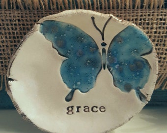 Ceramic ring dish, butterfly clay dish, grace, ring dish, jewelry tray, Sunday school gift, butterfly,