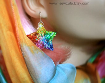 Colorful Rainbow Star Dangle Earrings, Catch a Falling Star Like Mermaid Treasure, bright rainbow glitter resin jewelry handmade by isewcute