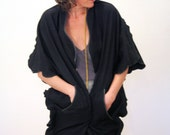 SALE! My Me Aki, 80s Avant Garde Cape, Black Sculptural Coat, Miyake Style Minimalist Cape, Leather Trim Cape, Hipster Jacket