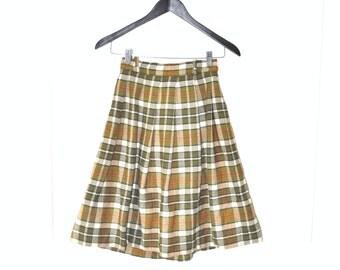 1950s plaid mini skirt 50s vintage wool skirt mid century high waist pleated mini skirt