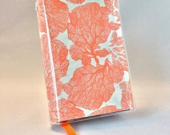 Paperback Book Cover - Reusable, Protective and Adjustable - Small Mass Market Size - Stylish Book Cover with Orange Coral Design