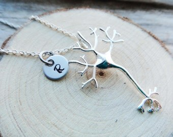 Neuron Brain Pendant-  NeuroScience Necklace-  Science Body Biology Silver Neuron Aluminum Stamped Jewelry